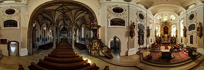 360°-Panorama der Pfarrkirche zum Heiligen Bendedikt in Altmünster am Traunsee